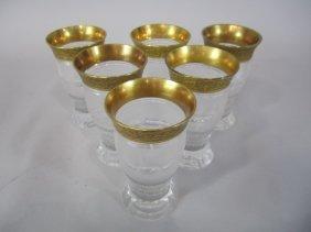 H80-197  SET OF 6 MOSER SPLENDID GOLD TUMBLERS