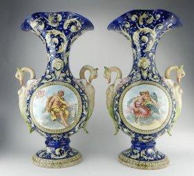 Pair Of Large Italian Majolica Porcelain Vases