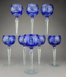 Set Of 8 Bohemian Cobalt Crystal Stemware