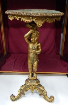 19th Century Carved Italian Figural Table