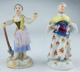 Two Miniature 19th Century Meissen Porcelain Figurines