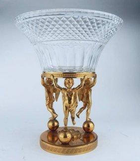 Empire Baccarat Crystal Dore Bronze Figural Centerpiece
