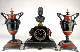 Patinated Bronze Lady On Marble Clock With Urns