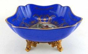 Cobalt Blue Sevres Porcelain Bowl In Gilt Bronze