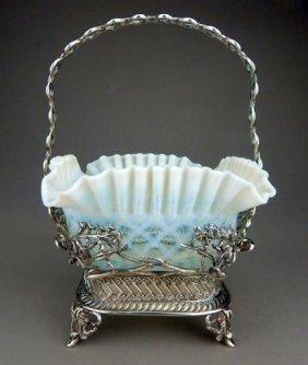 Wilcox Victorian Fenton Glass Brides Basket