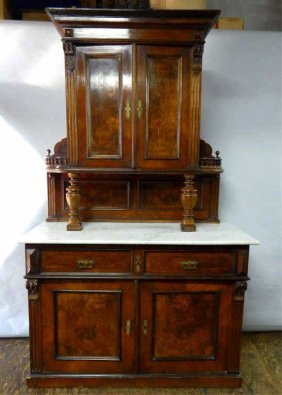 Victorian Carved China Cabinet W/ White Marble Top