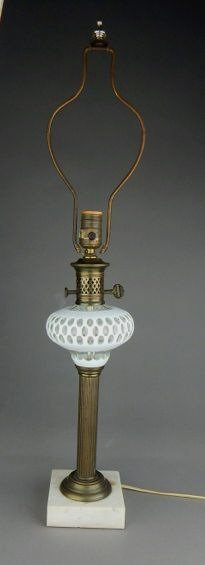 White Coin Dot Glass Lamp With Marble Base