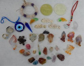 Assorted Carved Jade, Pendants And Polished Stones