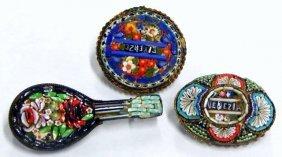 Vintage Italian Micro Mosaic Brooches