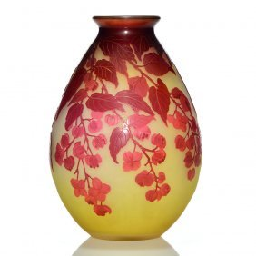 Galle cameo vase, wisteria vine, 8 inches, cameo