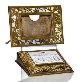 2 Tiffany Bronze Desk Items: Picture Frame & Calendar
