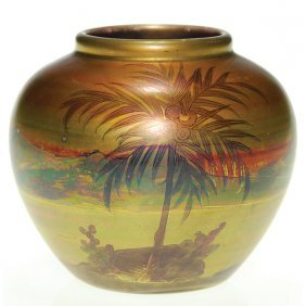 Weller Lasa 3 1/2� Vase, Palm Trees On Island