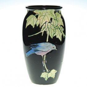 Weller Rosemont 10 1/2� Vase, Bluebird And Moth,