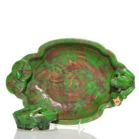 Weller Coppertone Frog & Lily Bowl, Frog, 3 1/2""