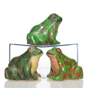 3 Weller Coppertone Frogs, 2 1/4""