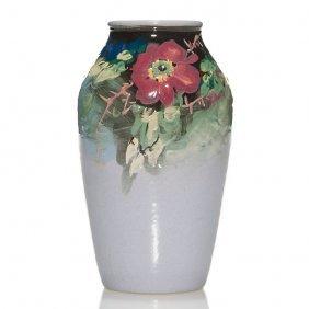 """Weller Late Eocean Vase, Wild Roses, 6 1/8"""""""