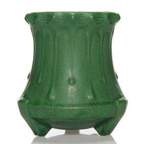 "Weller Matt Green Vase, Rain Drops, 6 1/4"""