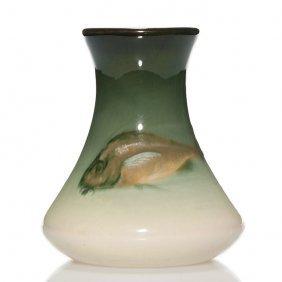 "Weller Eocean Vase, Fish, Burgess, 5 3/4"""