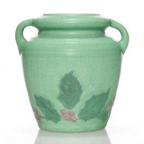 """Weller Matt Ware Vase, Holly, 4 3/4"""""""
