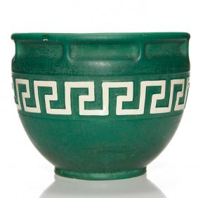 Brush Mccoy Mat Green Jardiniere, Greek Key, 8 1/2""
