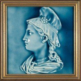 """American Encaustic Tile, Woman's Profile, 8x8"""""""