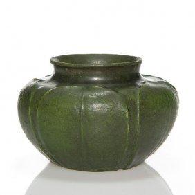 """Miniature Grueby mat vase, carved leaves, 2 3/4"""""""