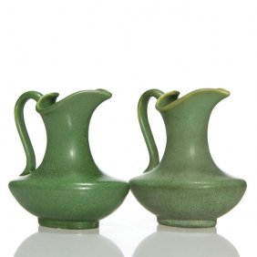 "2 Hampshire Pitchers, Green Matte, 6 1/2"", Marked"