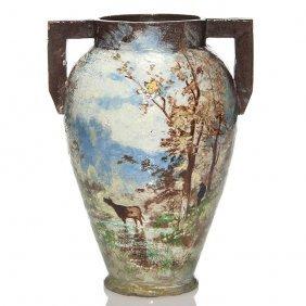"""Charles Volkmar Scenic Vase, Cows, 10 3/4"""""""