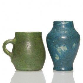 """2 Charles Volkmar Mat Glaze:3 1/2"""" Mug, 4 1/2"""" Vase"""