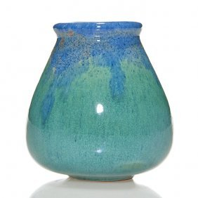 "Newcomb College Vase, 3 1/4"", Blue & Green"