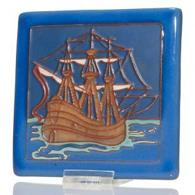 California Faience Tile, Galleon, 5 3/8""