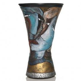 "David Stabley Ceramic Vase, Lovers Faces, 15 3/4"""