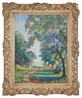 """Karl Kappes O/b, House, Trees, 17"""" By 13"""""""
