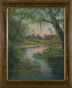 """W.c/ Addison O/b, Bayou, Florida Artist, 14"""" X 11"""""""