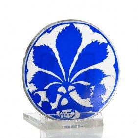 "Am Cameo Butter Pat, Blue Chestnut Leaf, 2 1/2"""