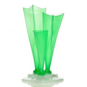 "Steuben 3 Prong Vase, Green Jade/alabaster, 10"""