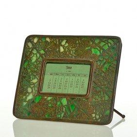"Tiffany Grape Leaf Bronze Easel Calendar, 6 X 7"""
