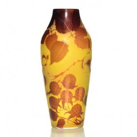 "D' Argental Cameo Vase, Raspberries, 7 3/4"", Signed"