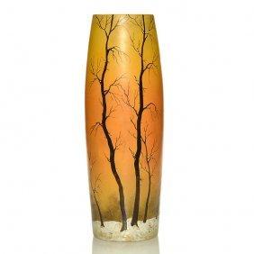 "Large Legras Enamel Winter Scenic Vase, 15 1/4"""