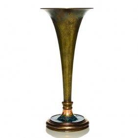 Tiffany Bronze Gold Dore' Vase, Enamel Base, 13