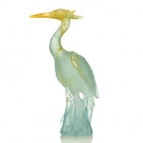"""Daum Pate-de-verre Heron Figure, 9 3/4"""", Signed"""