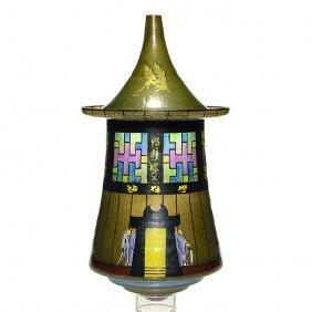 Arts & Crafts Hanging Glass Lantern, Oriental Motif