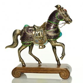 Chinese Horse, 925 Silver & Enamel, Ca1950s, 4