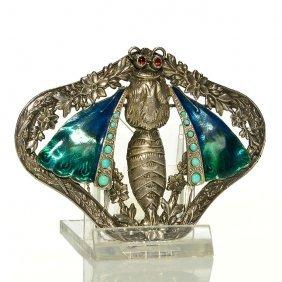 """Silver Moth Brooch, Enamel, Ruby Eyes, 2 5/8x3 1/2"""""""