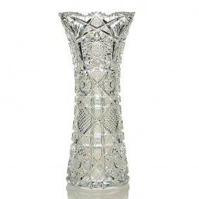 "Brilliant Cut Glass Cylinder Vase, 14"", J. Hoare"