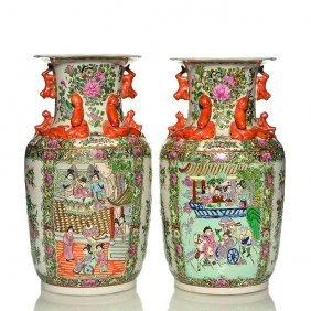 "Pr. Oriental Rose Medallion Vases, 15"""