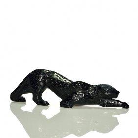 """Lalique Leopard, Black, 4""""x14 1/2', Signed"""