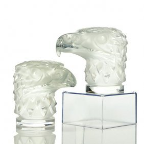 "2 Lalique Frosted Eagle Head Car Mascots, 4 1/4"", Sig"