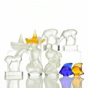 9 Lalique:leda&swan,horse, Deer, Fish,ring Trays
