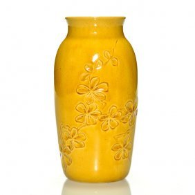 "Rookwood Yellow Vase, Impressed Floral, 6 1/4"", 80 B"